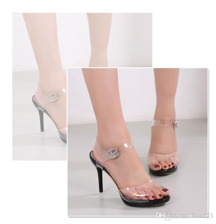 96a463581bed7a Bohemia Crystal Transparent Thin Heels Sandals Plus Size Female Open ...