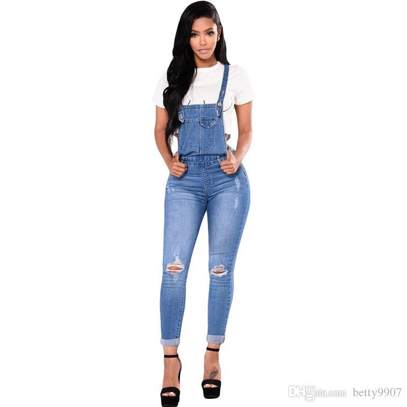 fb9503f4d5 Compre Desenhador Mulheres Jeans Suspender Roupas Skinny Rasgado Moda  Angustiado Buracos 2018 Verão Outono De Cintura Alta Calças Legais  Elásticas De ...