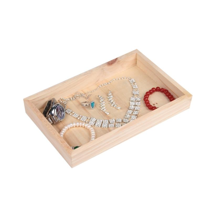 Javrick Jewelry Display Tray 6 Grids Showcase Wooden Stackable