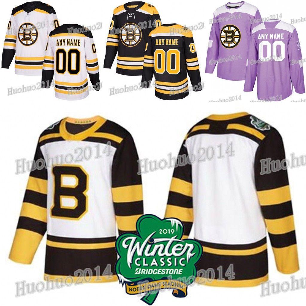 6d5d9844338 Acquista Boston Bruins 2019 Maglia Classica Invernale David Pastrnak  Patrice Bergeron Zdeno Chara Tuukka Rask Torey Krug Combattimenti Di Hockey  Combattenti ...