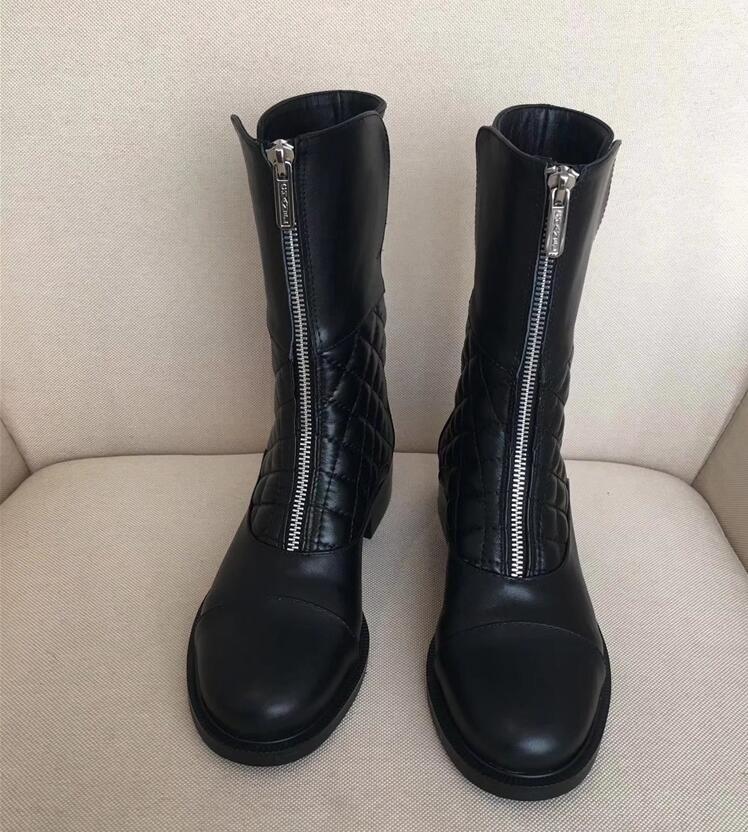 Shoes women classical black slip-on zip ankle boots genuine leather suede diamond-type lattice brandchanel roman boots dress shoes casual