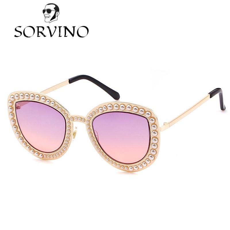 7042cffbb3 Купить Оптом Sorvino 2018 Pearl Embellished Cat Eye Sunglasses Женщины  Роскошный Бренд Дизайнер Винтаж Металл Золото Cateye Sun Glasses Shades 534  Отsorvino ...