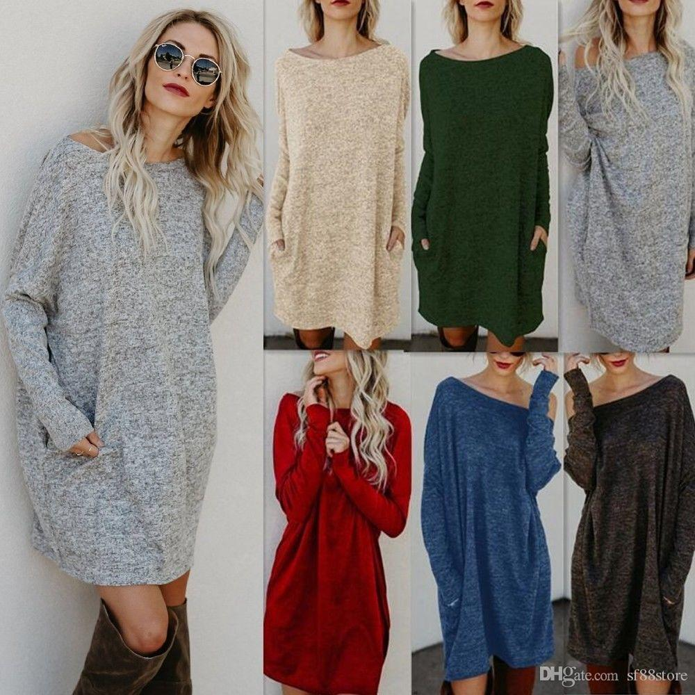 Jumper Oversized Knitted Long Womens Sweater Ladies 2019 Dress 0wN8nm