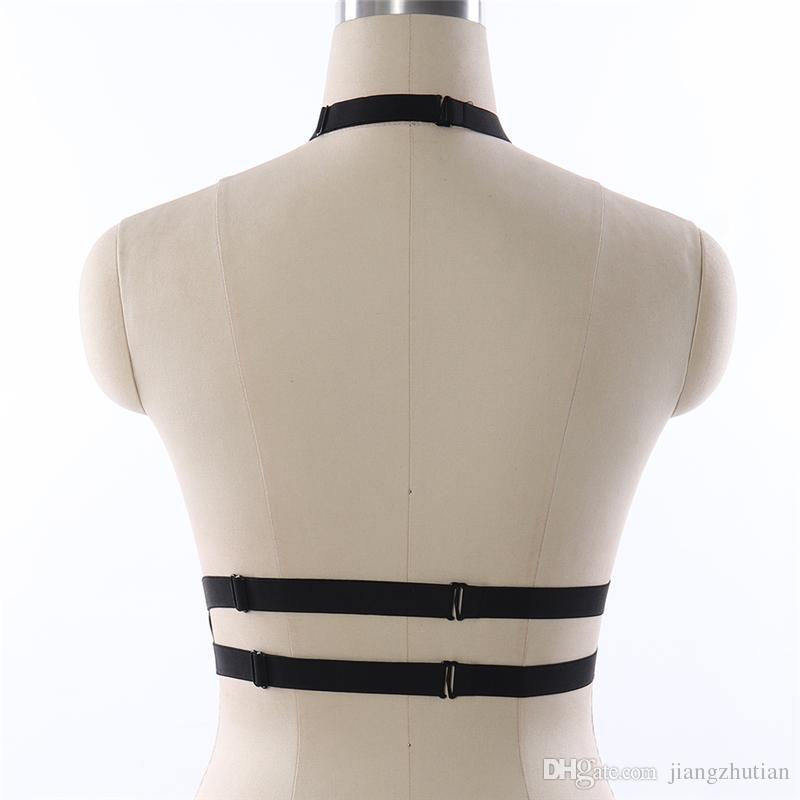 Frauen 90er Fetisch Sexy Elastic Bondage Harness Körper Käfig BH Harajuku Goth Black Einstellbare Körper Harness Crop Top
