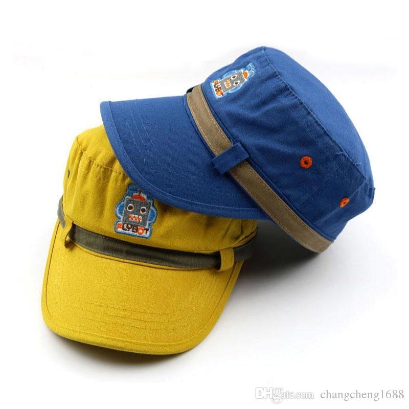 ... Шляпы Регулируемый Робот Вышивка Шляпа Мальчиков Девочек Весна Осень  Хлопок Шапки Для Детей Отchangcheng1688 В Категории Детские Шапки 50b5729a84932