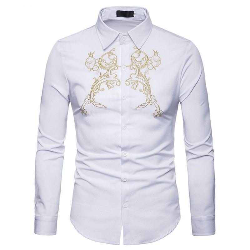 7e173dbca6 Compre Luxo Bordado De Ouro Branco Camisa Social Dos Homens Slim Fit Camisa  De Manga Longa Vestido Chemise Homme Casual Botão Para Baixo Camisas Para O  Sexo ...