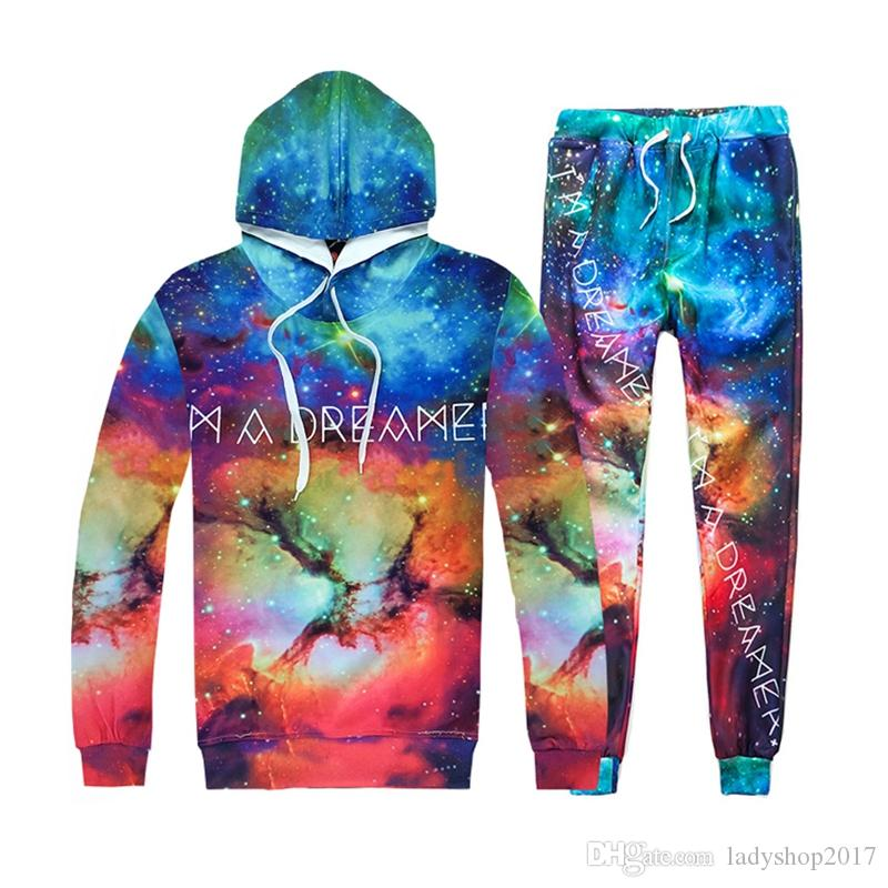 3d hoodies mens womens letters print galaxy space sweatshirts