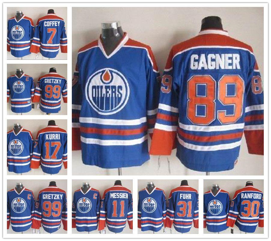 d9fe65738 2018 OILERS Hockey Jersey 7 Paul Coffey 99 Wayne Gretzky 17 Jari ...