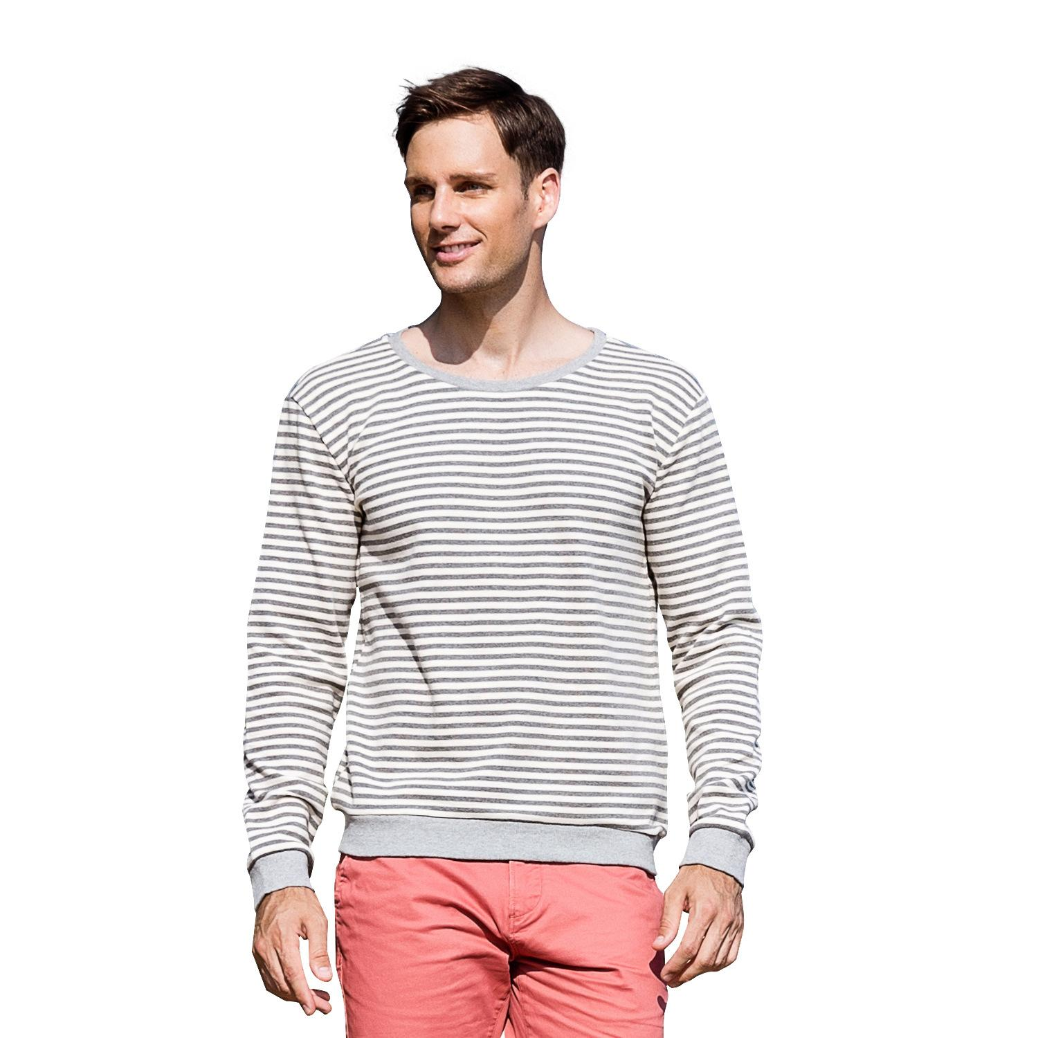 f7ce15c1b3a Wholesale Mens Pure Cotton Stripes 2018 Brand Fashion Luxury Designer  Sweatshirt Circular Collar Thickening Mens Big And Tall T-shirt