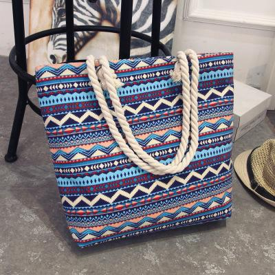 2019 Fashion Summer Shopping Big Bag floral Messenger Bags Women Canvas bohemian style striped Shoulder Beach Bag Female Casual Tote