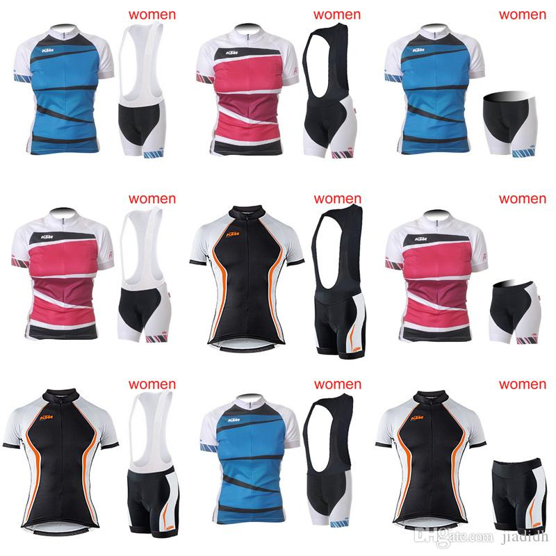 KTM Cycling Short Sleeves Jersey Bib Shorts Sets Hot Sale Summer Jersey  Suit Lady Bike Sports Set 3D Gel Pad C2914 Custom Cycling Clothing Road  Bike Shorts ... 92849ef33