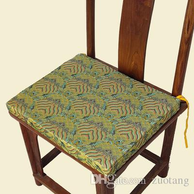 Classic Ethnic Chinese Dining Chair Seat Cushion Thicken Luxury Silk Brocade Wooden Round Backed Armchair Decorative Cushions For Sofa