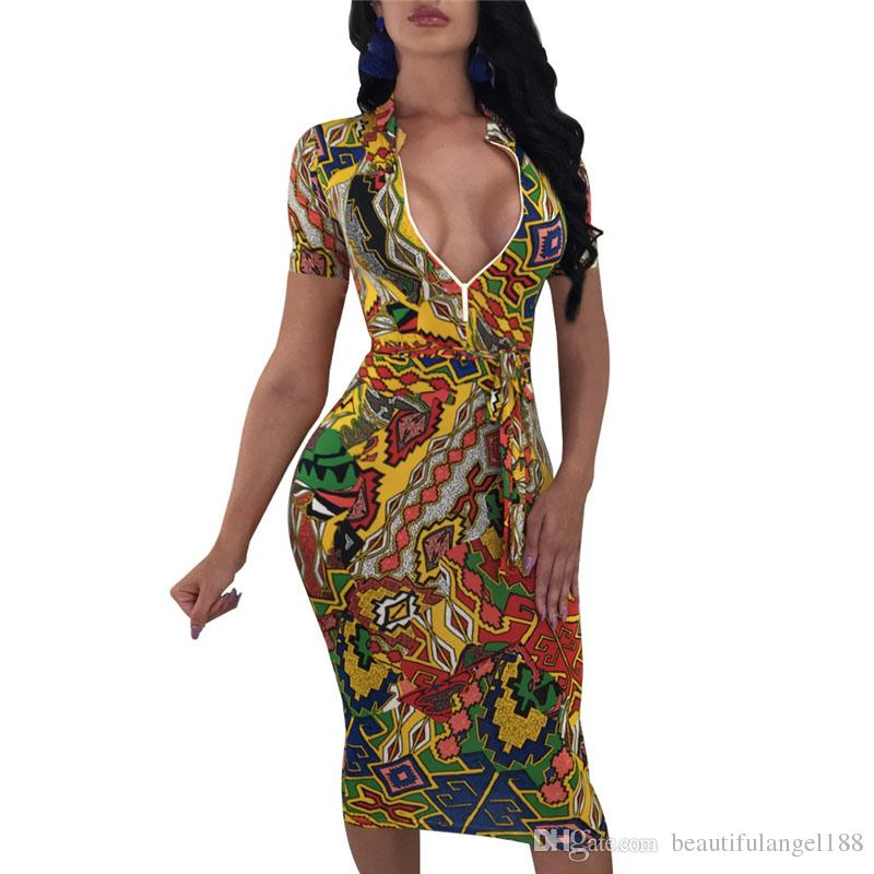 3e658b2ffd4e Colorful Geometric Print Short Sleeve Midi Dress Zipper Front Women Sexy  Summer Dresses Bodycon Club Vestidos Pink Dress Sundress From  Beautifulangel188
