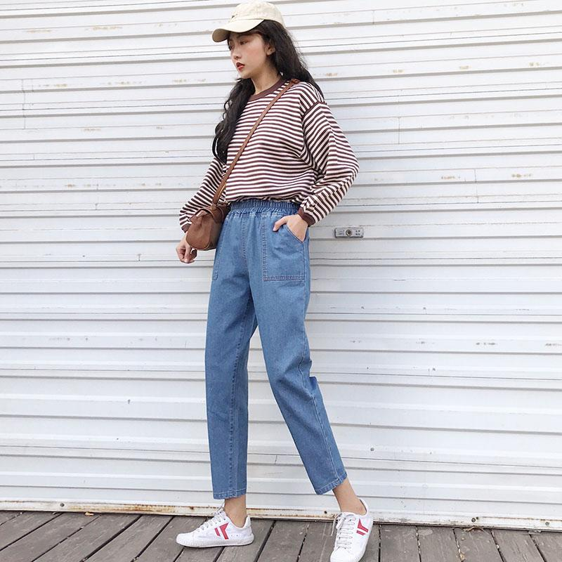 25dc4ce2f241ba Harajuku verão denim harem pants capri mulher S-5XL plus size stretch  cintura alta calças de brim longo bolsos kpop calças soltas azul