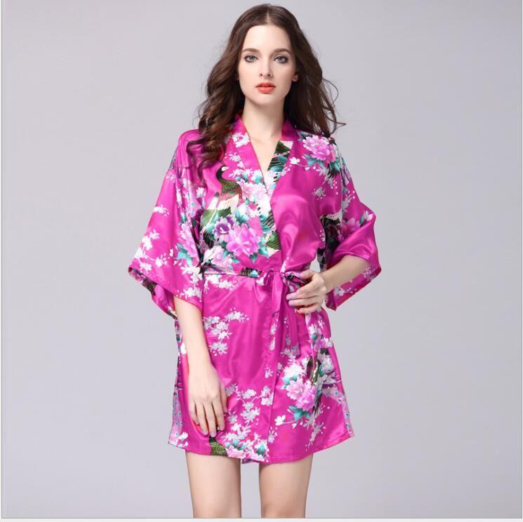 c8b787a62f 2019 Silk Satin Wedding Bride Bridesmaid Floral Bathrobe Short Kimono Robe  Night Robe Bath Robe Fashion Dressing Gown For Women 01 From Mt7322001