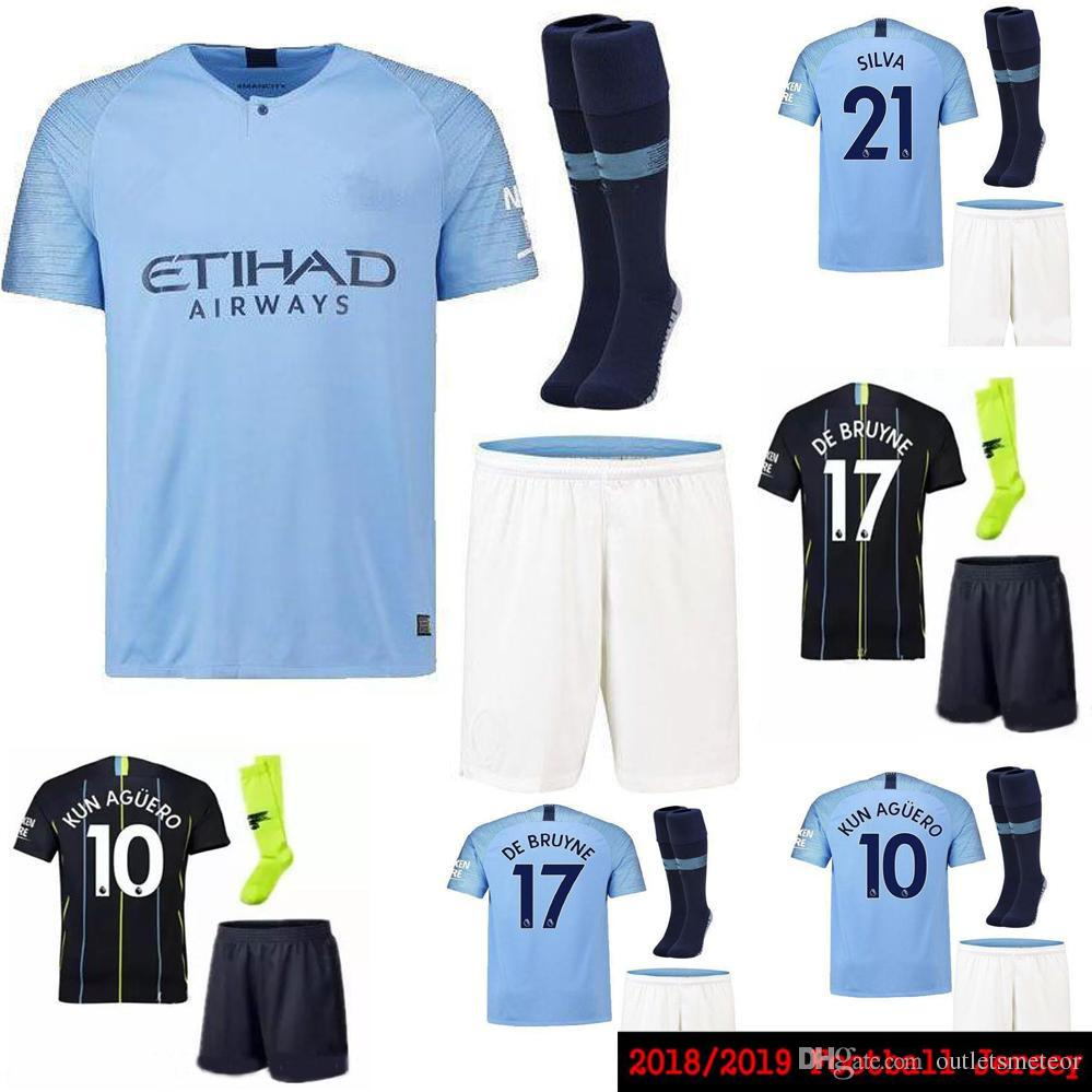 18 19 Sane Soccer Jerseys 2018 2019 Man City Kids Kit DZEKO KUN AGUERO  KOMPANY TOURE YAYA DE BRUYNE Home Shirt Adult And Kids Full Kits Canada  2019 From ... e76fe5676