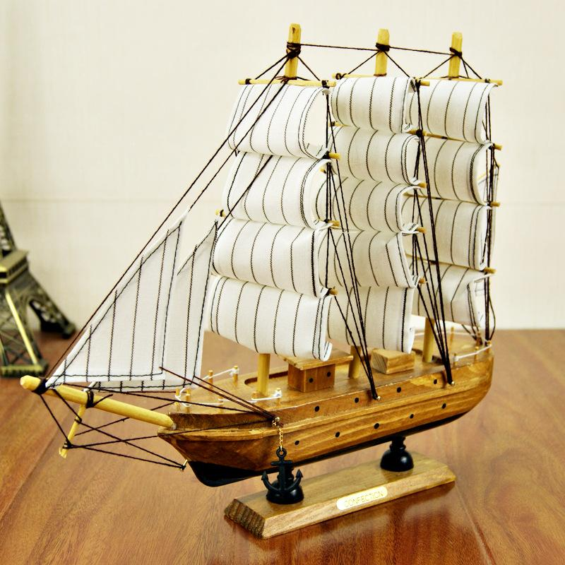 30cm Wooden Ship Craft Sailing Boat Mediterranean Wood Sailboat Model Nautical Pure Manual Decoration Home Decor Weird Stuff Catalog Catalogs