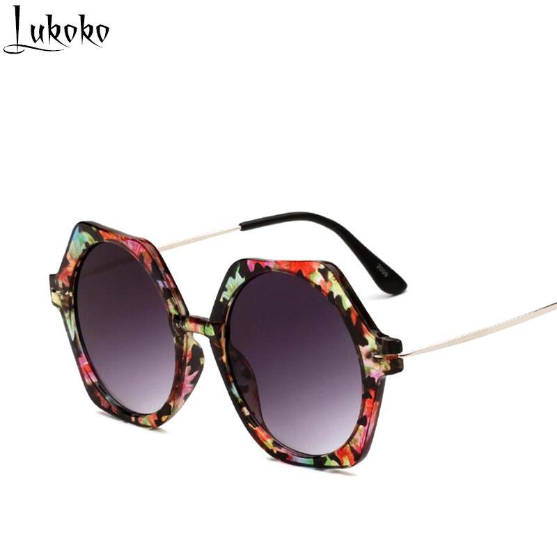 Acheter Lukoko Luxe Marque Designer Polygone Hexagone Miroir Cadre Lunettes  De Soleil Femmes Et Hommes Résine Lentille Lunettes De Soleil Rondes Femme  UV400 ... 0cae43aa41b4