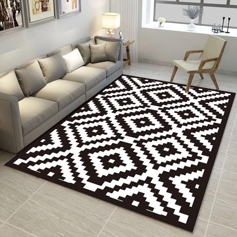 Acheter Tapis Motif Geometrique Noir Et Blanc Trend Imprime 3d Tapis