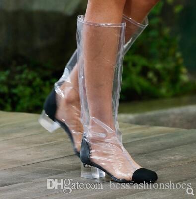 Stivali alti da donna con tacco alto in chunky Stivali da moto alti in tinta con pvc trasparente Stivali in vera pelle da donna in vera pelle