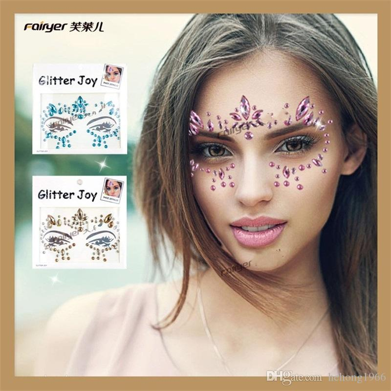 Fashion DIY Decoration Resin Drill Stickers For Party Masquerade Non Toxic Popular Crystal Face Tattoo Sticker Bling Style Parts 4 6yy Z