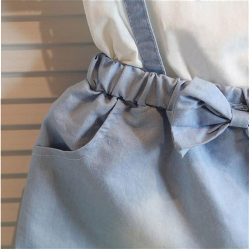 N2016 nouvelle mode bébé enfants filles coton robe mignonne princesse sans manches Denim Tulle Bowknot robes de haute qualité