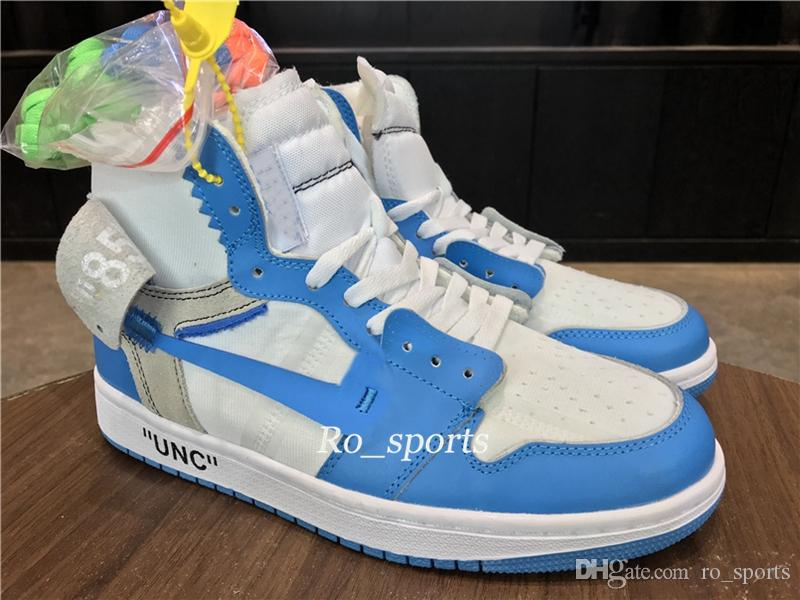 6f4117be514ca1 New 2018 UNC White University Blue One 1 Basketball Shoes For Mens 1 North  Carolina Shoes High Quality Sports Shoes With Box US8 12 4e Basketball  Shoes ...