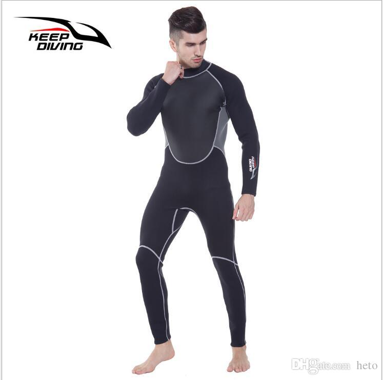 Cheap KEEP DIVING Long Sleeve Professional 3MM Neoprene Wetsuit One-Piece  Full Body For Men Scuba Dive Surfing Snorkeling Spearfishing Plus Size e5d3b4233