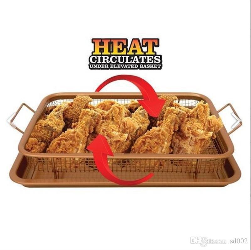 Non Stick Air Fryer Mesh Basket Copper Rectangle Crispy Tray ...