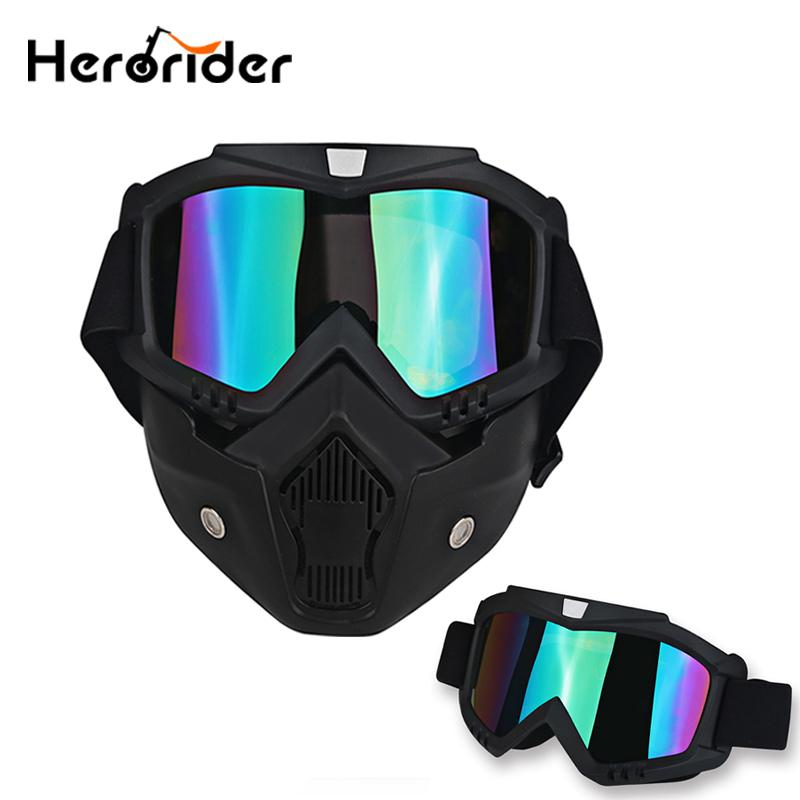 ebe62ac2ba6e3 Compre Motocicleta Motocicleta Máscara Facial Óculos De Proteção Motocross  Rosto Aberto Destacável Óculos De Proteção Capacete Óculos Vintage Para  Ciclismo ...
