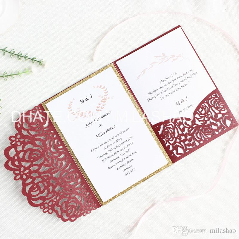 Wedding Invitation Printing.Rose Wedding Invitation Card Pocket Laser Burgundy Invite With Glittery Insert Provide Customized Printing Free Shipping