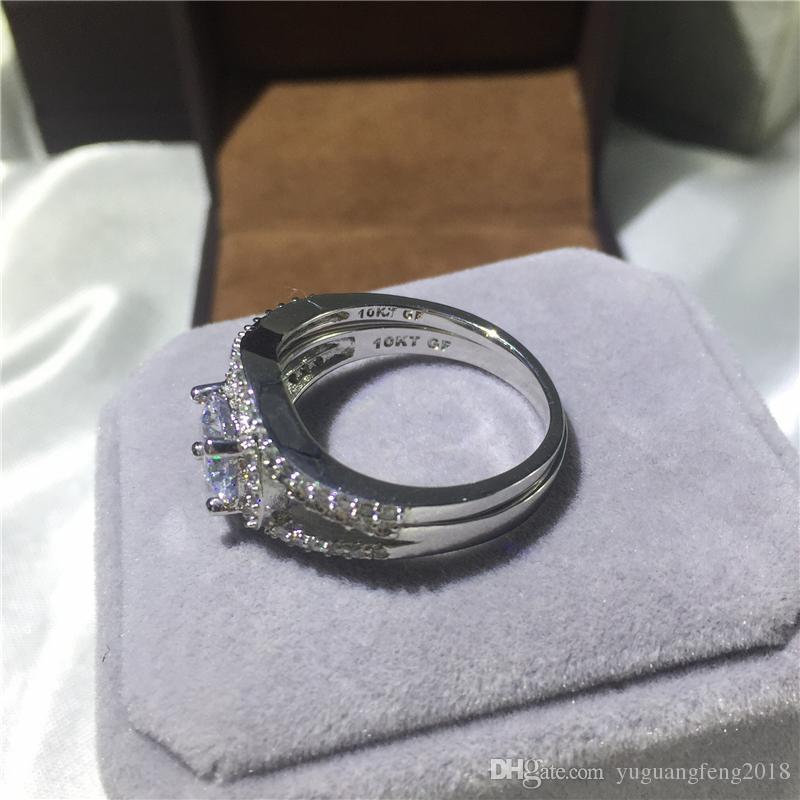 Moda takı kadınlar nişan düğün takı yuvarlak kesim zirkon 5A 10Kt platin yüzük, yüzük boyutu 5-11 dolum