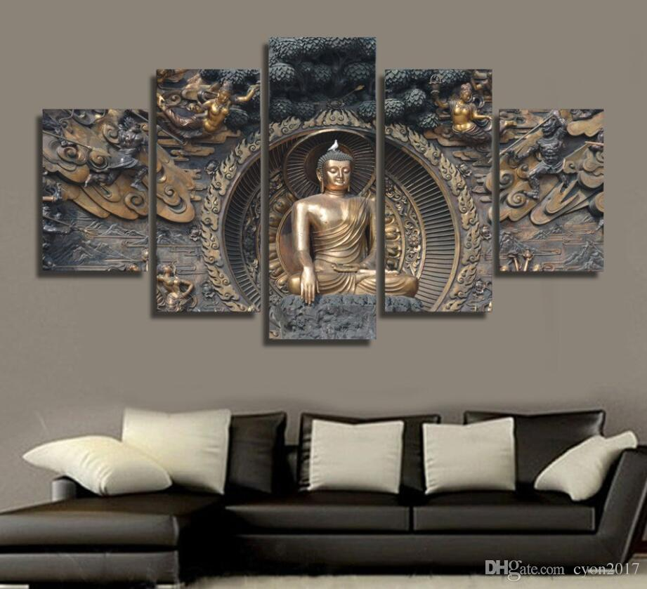 Modular Painting Wall Art Pictures Canvas Poster Frame 5 Panel Buddha Statue Buddhism Art Landscape Home Decor HD Printed