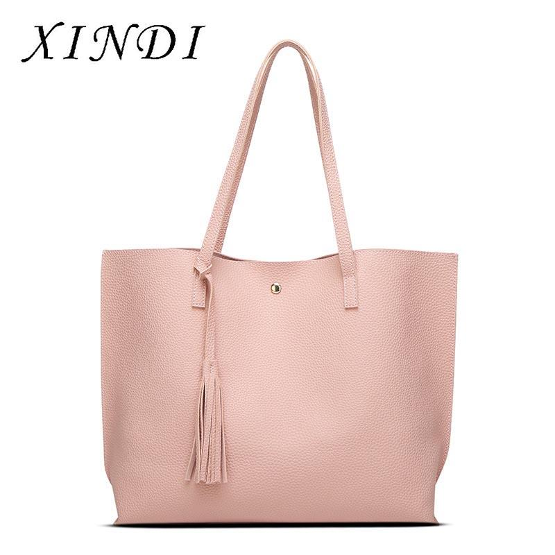 15e4839d34a0 2018 PU Leather All Match Fashion Ladies Casual Shopping Totes Bag Tassel  Shoulder Bags Large Capacity Bolsas Women Handbags Cheap Designer Bags Mens  ...