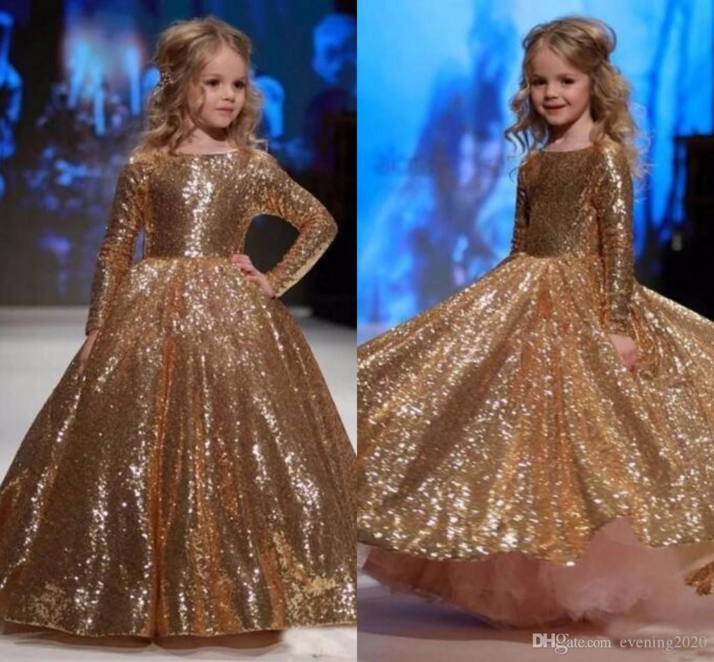 ac9a0e02cb2 Luxury Sequins Long Sleeves Flower Girl Dresses Bling Gold Sequined Fabric  5 Year Old Girl Muslim Pageant Ball Gown Party Dresses Girls Dresses Formal  Girls ...