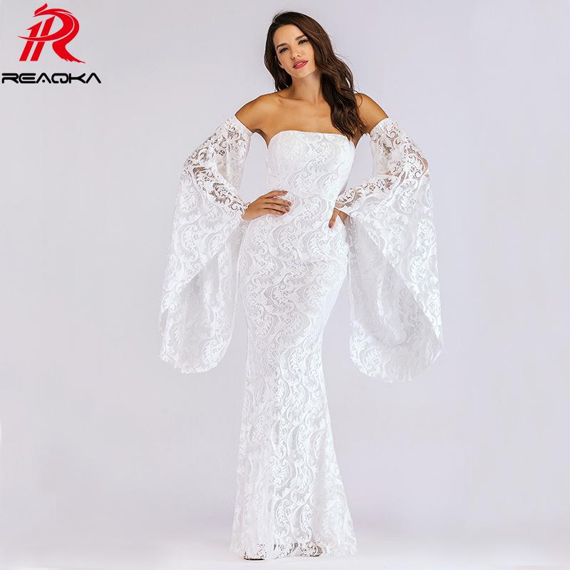 370b123c90 2019 2018 Summer Elegant White Lace Maxi Dress Women Sleeveless Backless  Flare Sleeve Sundress Sexy Strapless Evening Party Dresses From Zhaolinshe