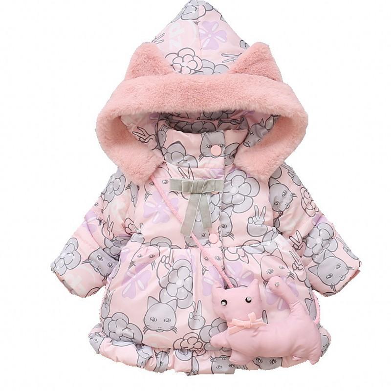 a55516451f6f New Baby Girls Winter Cartoon Coats Warm Outerwear Hooded Autumn 9M ...