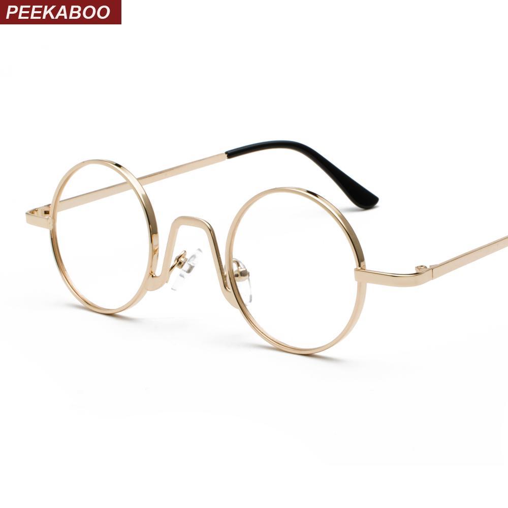 ea2dbde658 2019 Peekaboo Woman Small Glasses Frame Men Vintage 2019 Gold Retro Round  Circle Metal Frame Eyeglasses Decoration Nerd From Strips
