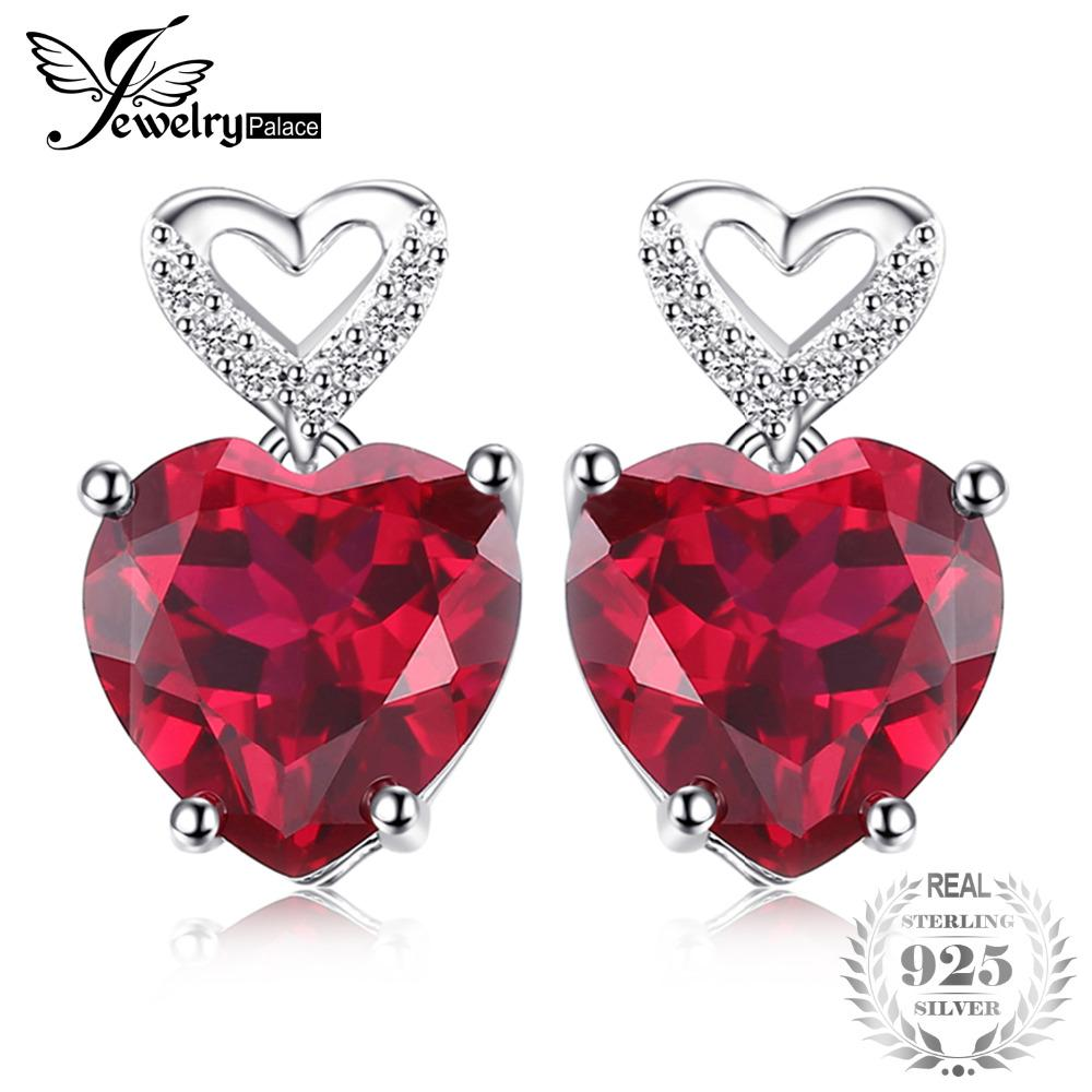 fbb6021365456 JewelryPalace Love Heart 7.2ct Created Red Ruby Drop Dangle Earrings 925  Sterling Silver Best Wedding Jewelry Earrings For Women