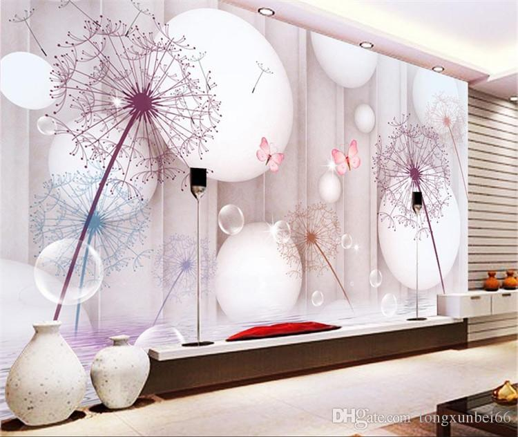 3d 스테레오 거실 TV 배경 월페이퍼 현대 간단한 민들레 영화 벽화 벽화 5D 벽 천으로 럭셔리
