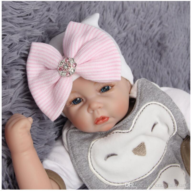 1a5599fddfd 2019 Newborn Baby Hats 0 3 Months Big Bow Knot Pink Diamond Stripe Toddler  Knit Caps Warm Infant Hat Best Gifts Girls Boys Hats From Crazyfairyland