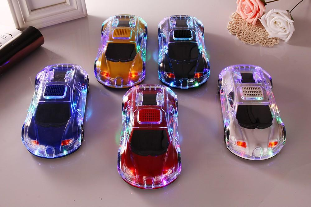 10pcs Christmas gift DS-520BT Car Model wireless bluetooth speaker led flash light portable subwoofer Support TF SD FM with mic handsfree