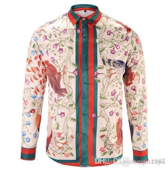 d7ef309b1428a 2019 Ug Autumn Harajuku Luxury Brand Medusa Shirts Fashion Hawaiian Retro  Floral Print Silk Shirt Chemise Mens Long Sleeve Designer Dress Shirts From  Zxyu