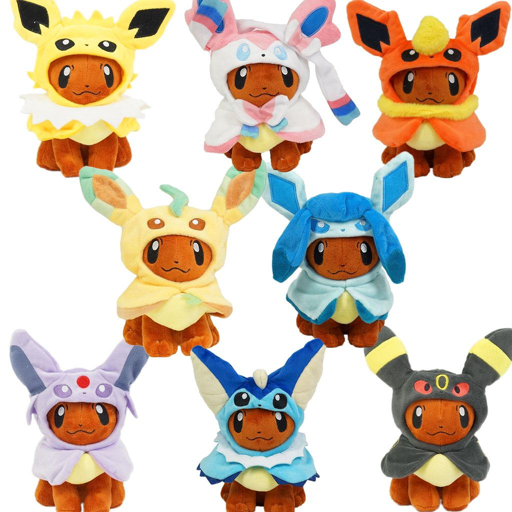 Anime 20cm Eevee Poncho Umbreon Espeon Jolteon Vaporeon Sylveon Flareon  Plush Doll Stuffed Toys