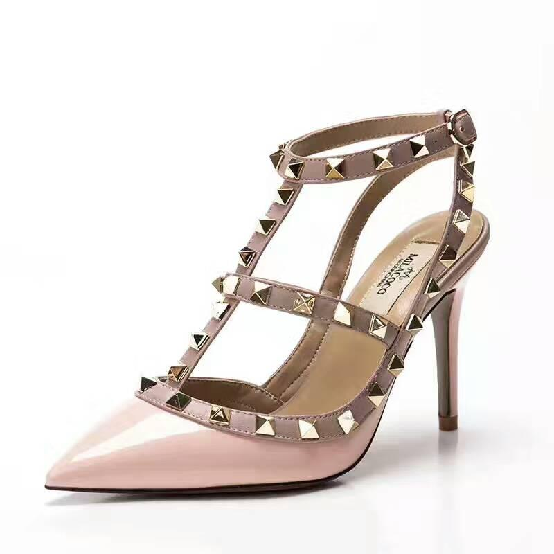 2870911d00d3 Designer Pointed Toe 2 Strap With Studs High Heels Patent Leather Rivets  Sandals Women Studded Strappy Dress Shoes Valentine High Heel Shoes Brown  Shoes ...