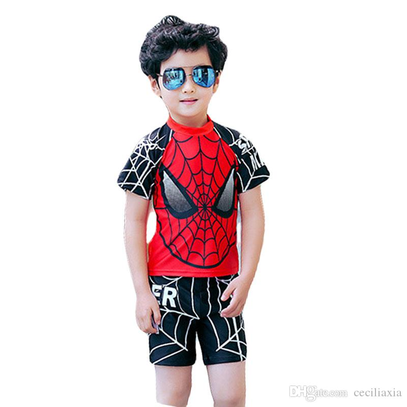 7c40356f93 2019 Swimwear Kids Boys Spiderman Baby Swimsuit Pattern Short Sleeve Two  Piece Beach Shorts Pants Boardshorts Nylon From Ceciliaxia, $23.1 |  DHgate.Com