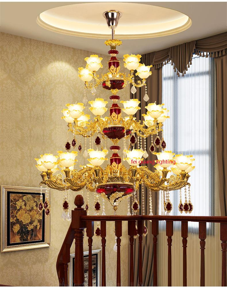 European duplex floor zinc alloy crystal chandeliers two three four living room lobby stairs lamp villa chandeliers