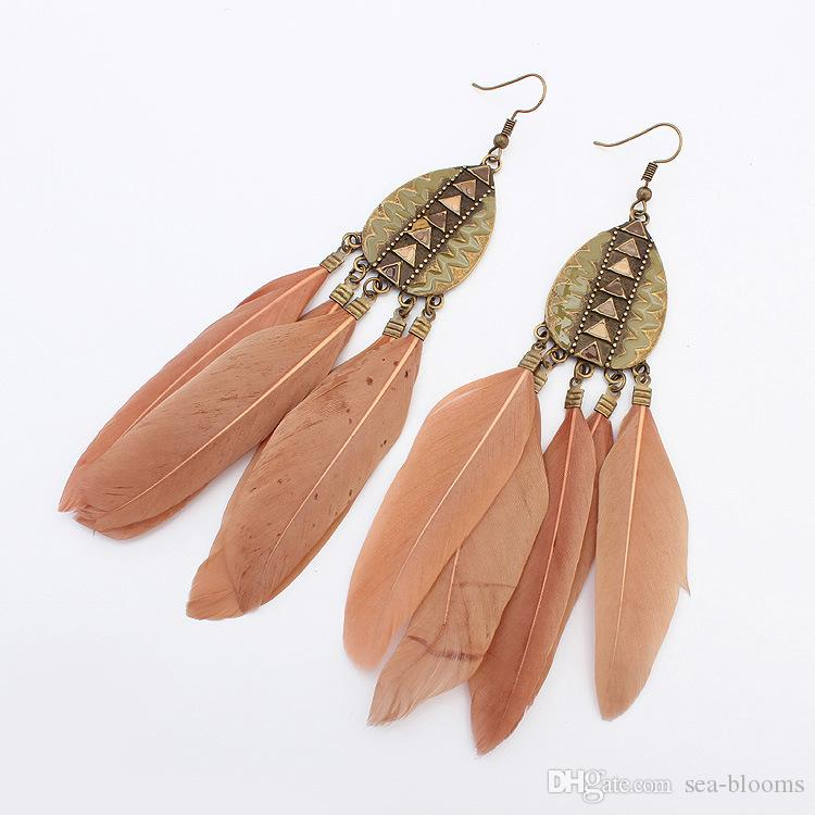 Feather Earrings European And American Fashion Retro Drops Tassel Earrings Long Section Bohemian Ethnic Handmake Ear Jewelry G358Q