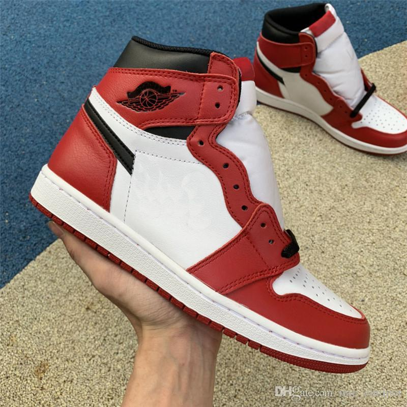 uk availability 21b92 f4911 Authentic 1 High OG Chicago 1S Red Black White Rust Pink Fragment Design  Men Basketball Shoes Sports Sneakers With Box 555088-101
