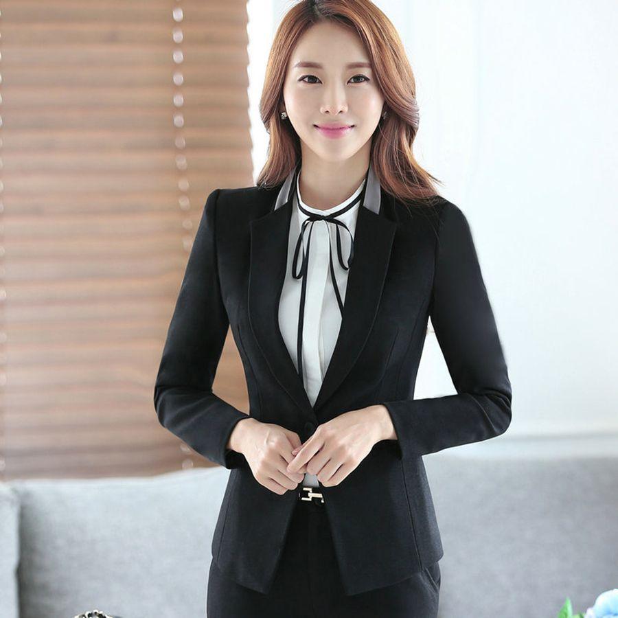 2019 Black Blazer For Plus Size Women Office Jacket Korean Vintage